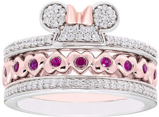 FINE JEWELRY Disney Classics 1/4 CT. T.W. Genuine Diamond 14K Rose Gold Over Silver Sterling Silver Heart Minnie Mouse 3-pc. Jewelry Set