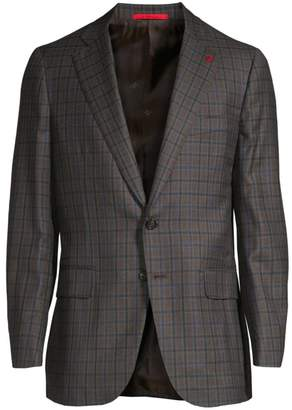 Isaia Classic-Fit Plaid Wool Sportcoat