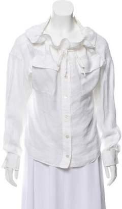 Donna Karan Off-The-Shoulder Button-Up Top