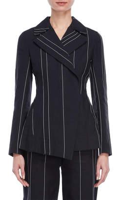 Cédric Charlier Pinstripe Asymmetric Jacket