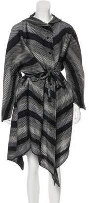 Issey Miyake Striped Pleated Shirtdress
