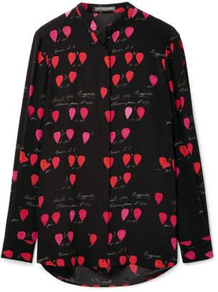 Alexander McQueen Printed Silk Crepe De Chine Blouse - Black