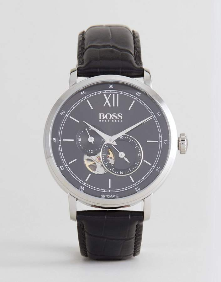 HUGO BOSS Boss By 1513504 Signature Leather Watch In Black