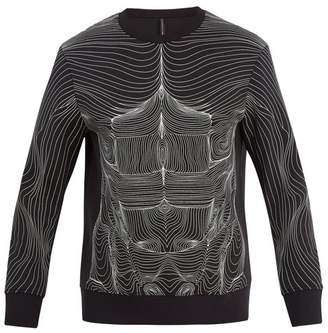 BLACKBARRETT by NEIL BARRETT Topography Body Print Jersey Sweatshirt - Mens - Black White