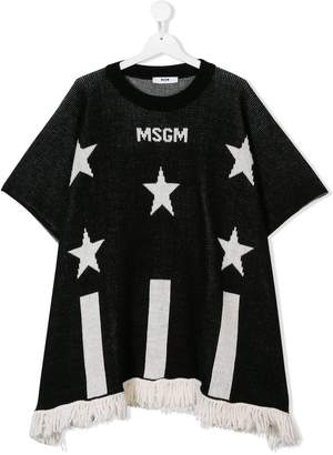 MSGM TEEN knitted fringed logo top