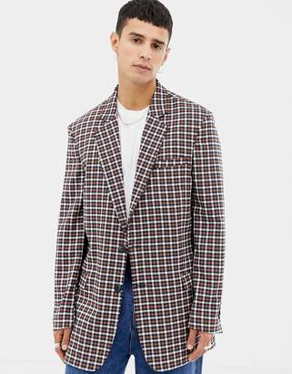 Collusion COLLUSION double breasted blazer in micro check
