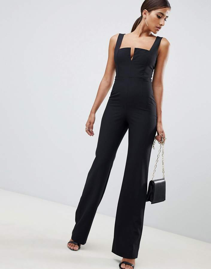 Vesper plunge front wide leg jumpsuit in black