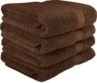 Ringspun Utopia Towels 700 GSM Premium Brown Bath Towels Set - Pack of 4 - (27x54 Inches) - 100% Ring-Spun Cotton Towels for Home