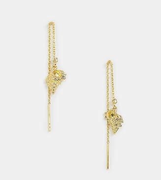 Asos Design DESIGN Sterling silver with gold plate pull through earrings with sea shell