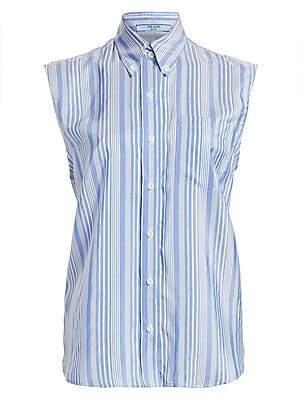 465bb08fc43c3e Prada Women s Logo Stripe Silk Button-Down Shirt