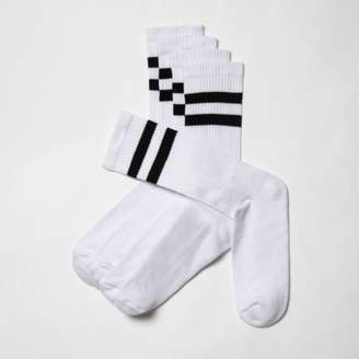 River Island Mens Big and Tall white stripe socks multipack