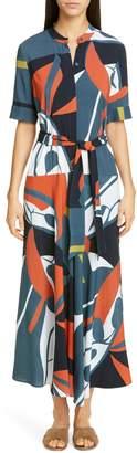 Lafayette 148 New York Augustina Print Belted Midi Dress