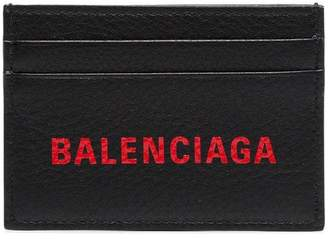 Balenciaga black and red logo print leather cardholder