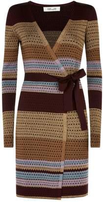 Diane von Furstenberg Metallic Stripe Wrap Dress