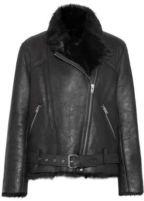 IRO Mantaa Textured-leather And Shearling Coat - Black