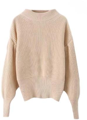 Goodnight Macaroon 'Bonny' Bishop Sleeves Mock Neck Sweater (2 Colors)