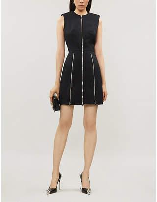 Alexander McQueen Zipped fitted wool and silk-blend mini dress