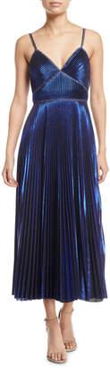 Pleated Sleeveless Tea-Length Dress