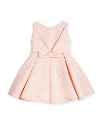 Helena Sleeveless Pleated Jacquard Fit-and-Flare Dress, Pink, Size 7-14 $236 thestylecure.com