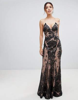 Bariano allover lace cami maxi dress with strappy back in black