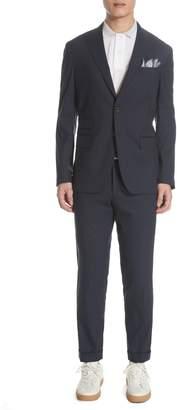 Eleventy Platinum Trim Fit Stretch Check Wool & Silk Suit