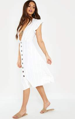 PrettyLittleThing White Stripe Frill Shoulder Button Front Stripe Midi Dress