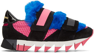 Dolce & Gabbana Tricolor Fur Velcro Sneakers $995 thestylecure.com