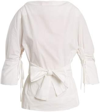 Vivienne Westwood Kembra boat-neck tie-waist cotton-poplin blouse