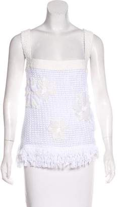Chanel Camellia & Fringe-Trimmed Top w/ Tags