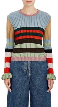 Valentino Women's Striped Rib-Knit Virgin Wool Sweater $1,200 thestylecure.com