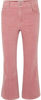 Etoile Isabel Marant Anyree Cropped Stretch-cotton Velvet Flared Pants - Pink
