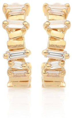 Suzanne Kalan 18ktt gold diamond hoop earrings