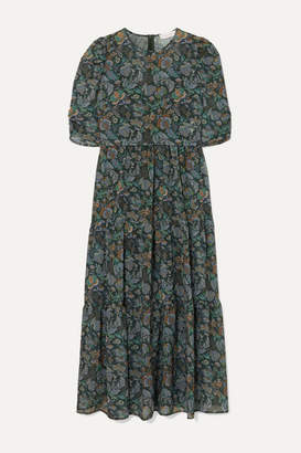 See by Chloe Tiered Floral-print Georgette Midi Dress - Green