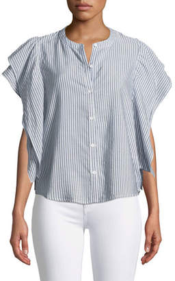 Splendid Paradise Cove Ruffle-Sleeve Button-Front Striped Top