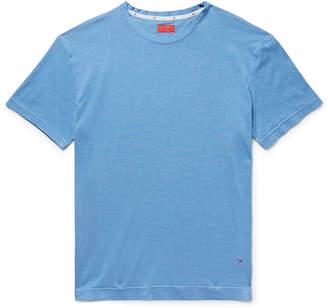 Isaia Slub Silk and Cotton-Blend Jersey T-Shirt - Men - Blue