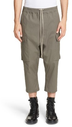 Men's Rick Owens Drop Crotch Crop Cargo Pants $662 thestylecure.com