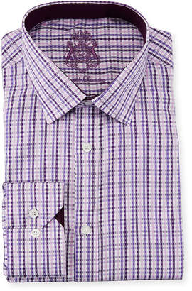 English Laundry Classic-Fit Micro-Gingham Dress Shirt, Purple