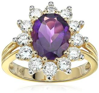 IGI Certified 14k Yellow Gold Amethyst and Diamond Halo Engagement Ring (1.40 cttw.