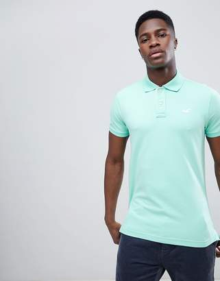 Hollister Solid Core Seagull Logo Polo Contrast Placket in Mint