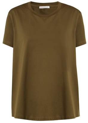 Moncler Ruffle Trimmed Cotton T Shirt - Womens - Khaki