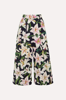 Dolce & Gabbana Cropped Floral-print Cotton Wide-leg Pants - Black