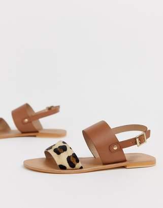 Asos Design DESIGN Faye leather flat sandals in leopard