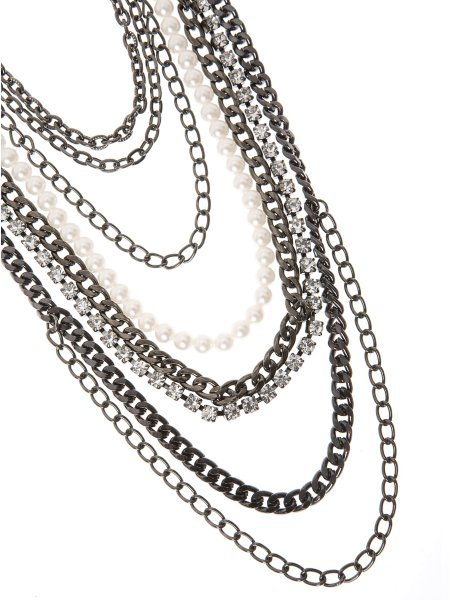Pearl Rhinestone Chain Necklace