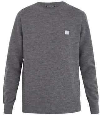 Acne Studios Nalon Face Wool Sweater - Mens - Grey