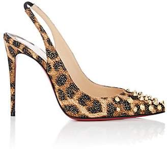 Christian Louboutin Women's Drama Sling Leopard-Print Satin Pumps - Black-Gold