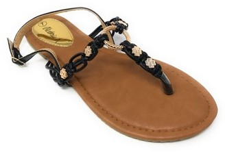 Forever Young Victoria K Women's Multi Knots With Metallic Beads and Gold Centered Ring Sandals