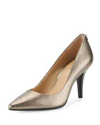 MICHAEL Michael Kors MK-Flex Leather Mid-Heel Pump, Gunmetal $99 thestylecure.com