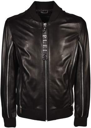 Philipp Plein Embossed Logo Leather Jacket