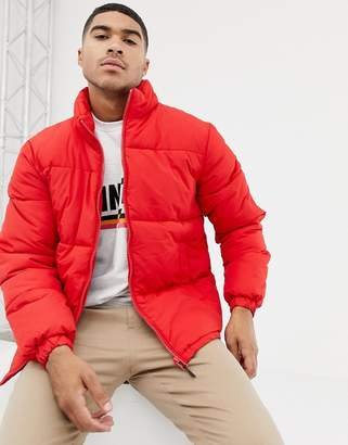 Bershka puffer jacket in red with funnel neck