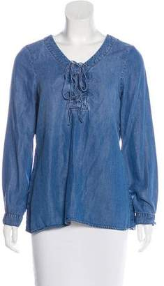 Saks Fifth Avenue Denim-Accented Long Sleeve Top